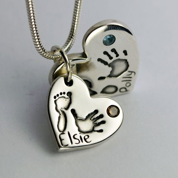 Little Sprout Keepsake Jewellery Double Heart Pendant Birthstones, Handprints, Footprints